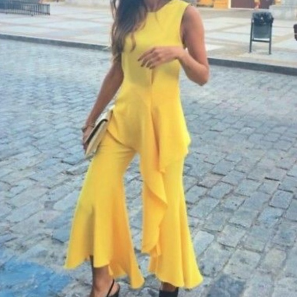 87e0dc8d007 Zara Pants | Nwt Yellow Ruffled Asymmetric Flare Trousers | Poshmark